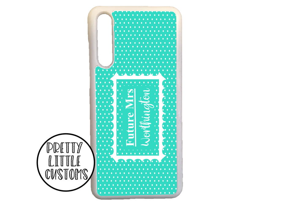 Personalised Future Mrs (your name) Phone Cover - mint/white polka dot