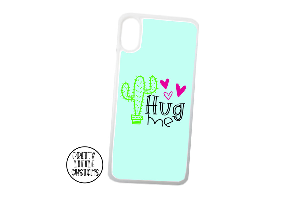 Hug Me - cactus design phone cover - mint