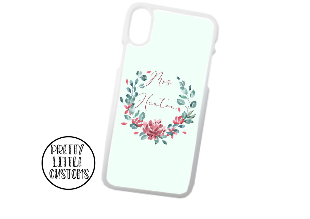Personalised Mrs (your name) Phone Cover - floral wreath - mint