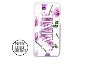Personalised name floral Phone Cover - orchids