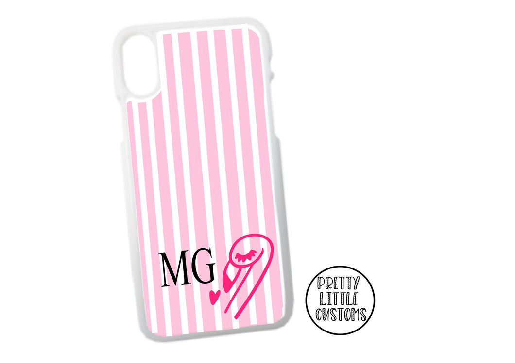 Personalised initials Phone Cover -  pink/white stripe flamingo