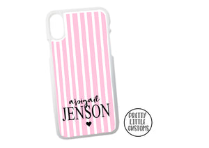 Personalised name Phone Cover -  pink/white stripe
