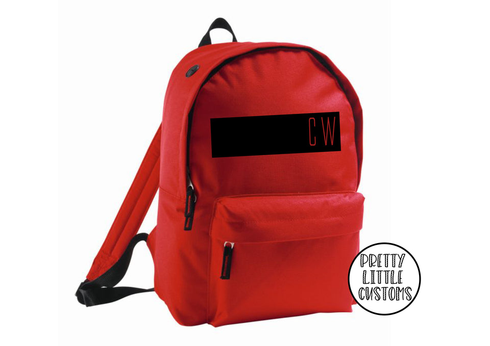 Personalised kids initials, block design rucksack/backpack/school bag - red