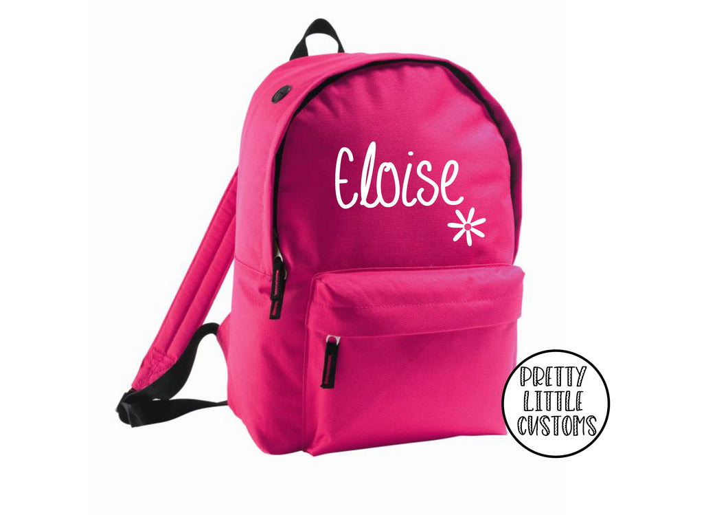 Personalised kids name, daisy design rucksack/backpack/school bag - hot pink