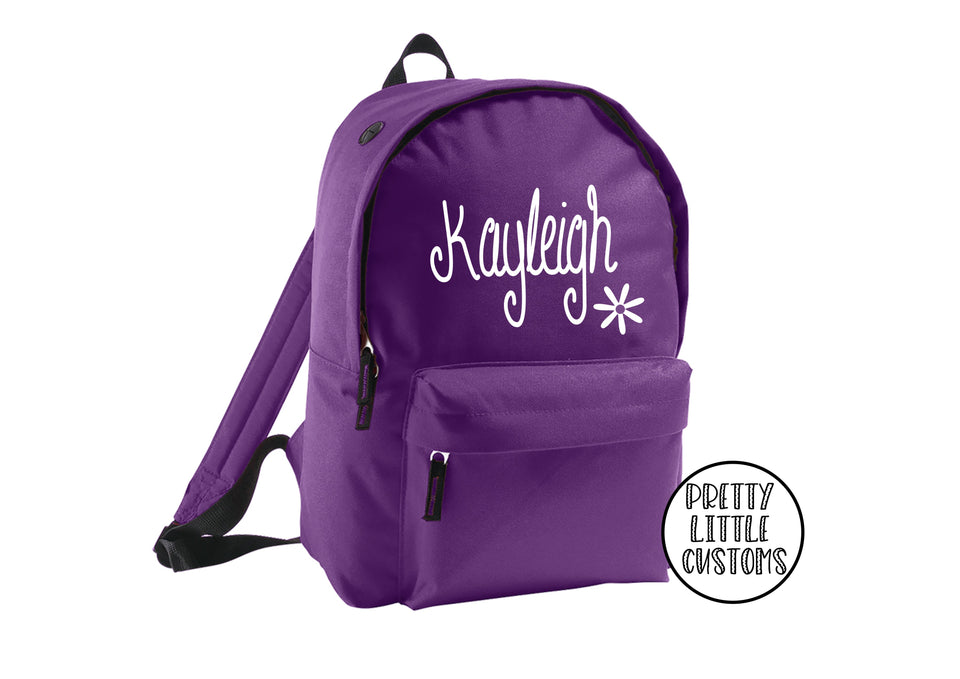 Personalised kids name, daisy design rucksack/backpack/school bag - purple