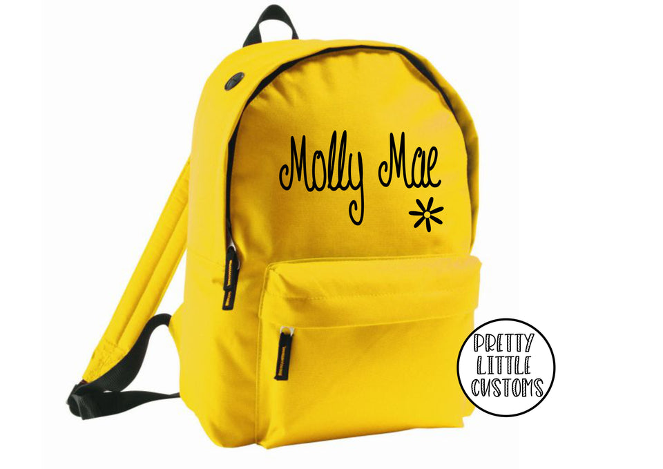 Personalised kids name, daisy design rucksack/backpack/school bag - yellow