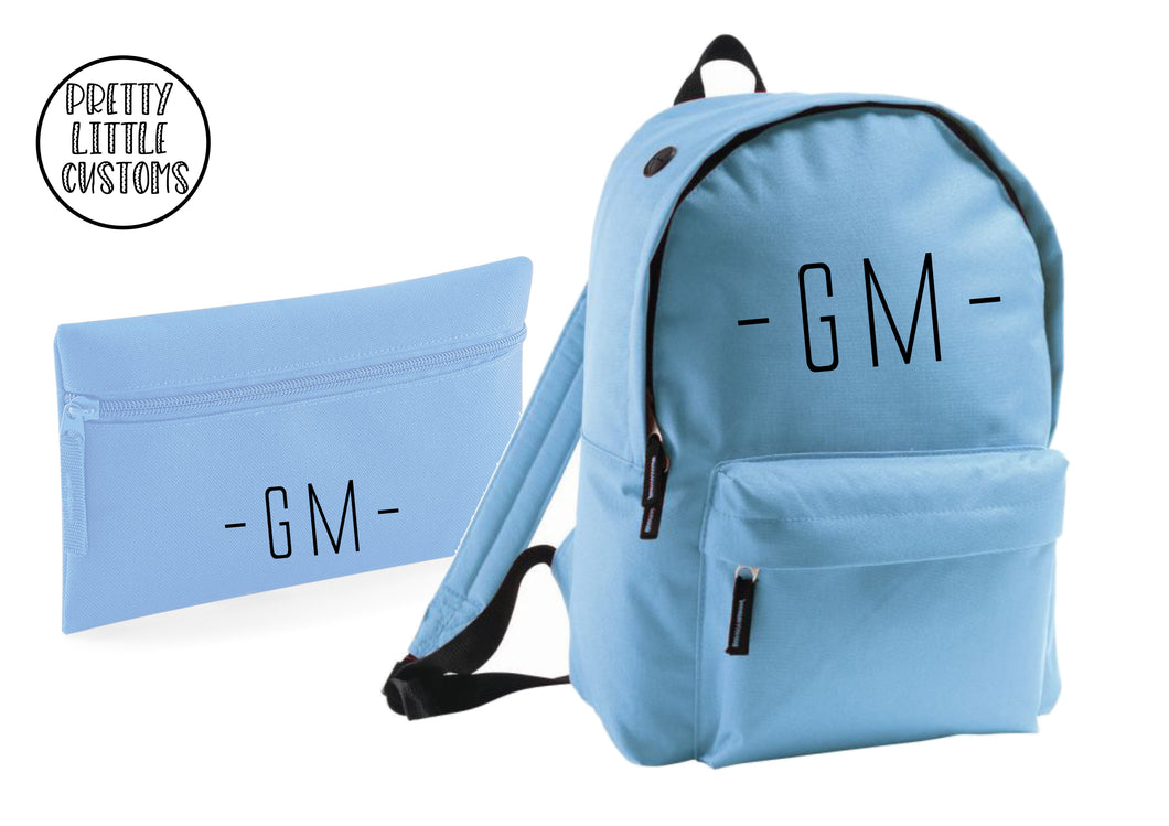 Personalised kids initials pencil case & rucksack school set- pale blue