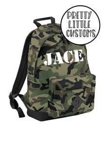 Personalised kids name rucksack/backpack/school bag - camo