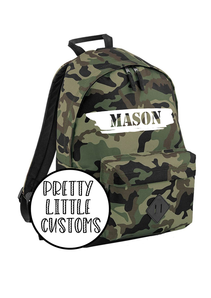 Personalised kids name rucksack/backpack/school bag - camo - style 2