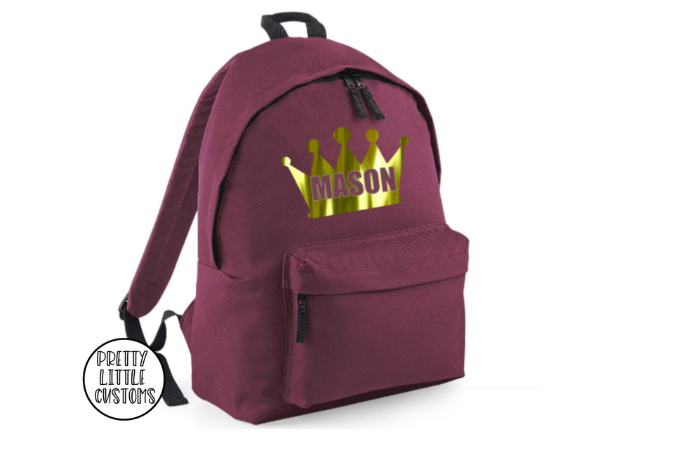 Personalised kids chrome crown name rucksack/backpack/school bag
