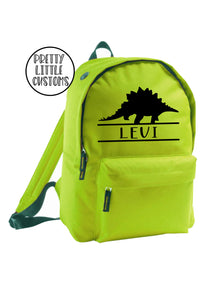 Personalised kids name rucksack/backpack/school bag - dinosaur