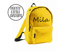 Personalised kids name rucksack/backpack/school bag - yellow