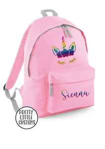 Personalised kids rainbow unicorn name rucksack/backpack/school bag - pale pink