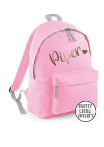 Personalised kids ROSE GOLD name, heart print rucksack/backpack/school bag - pale pink