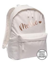 Personalised kids ROSE GOLD name, heart print rucksack/backpack/school bag - white