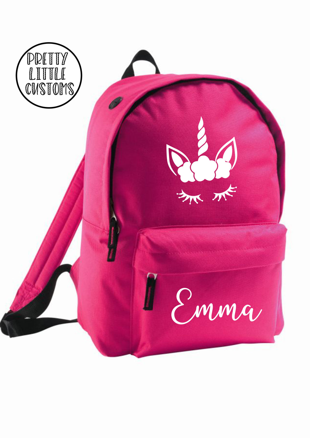 Personalised kids name rucksack/backpack/school bag - unicorn - bright pink