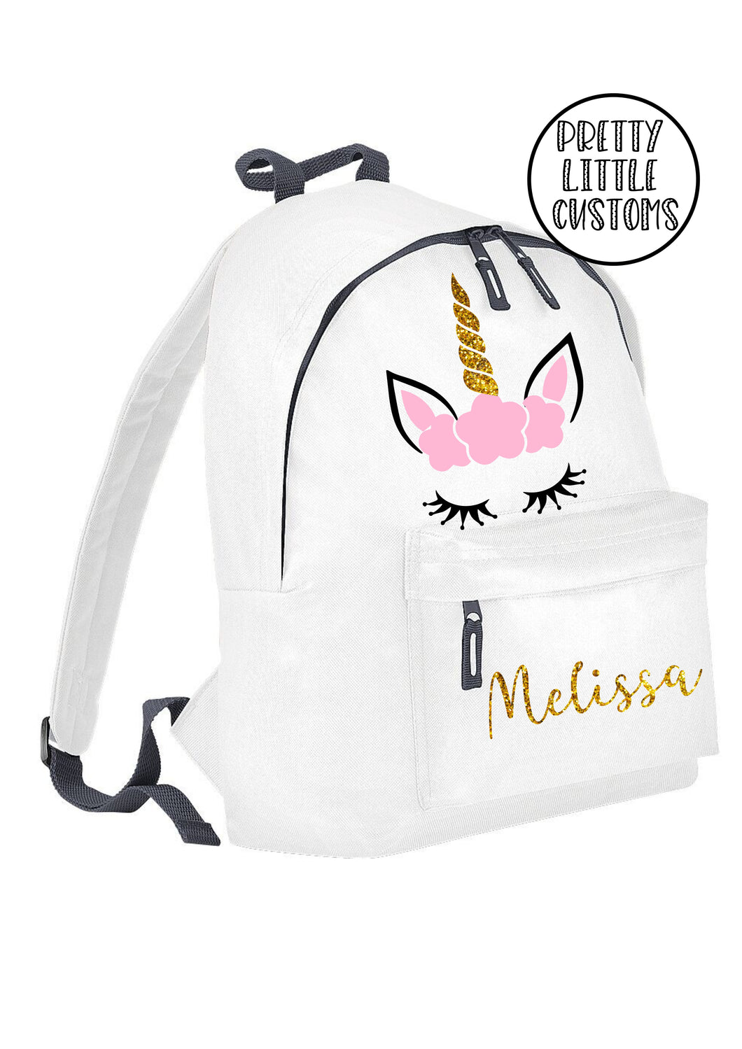 Personalised kids GLITTER unicorn name rucksack/backpack/school bag