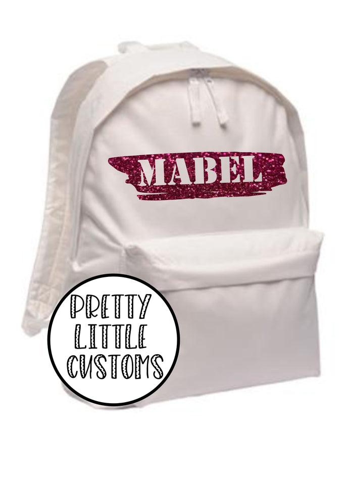 Personalised kids GLITTER name rucksack/backpack/school bag