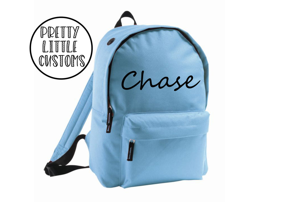 Personalised kids name rucksack/backpack/school bag - blue