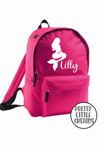Personalised kids name, mermaid print rucksack/backpack/school bag - pink