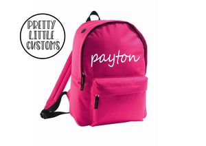 Personalised kids name rucksack/backpack/school bag - pink
