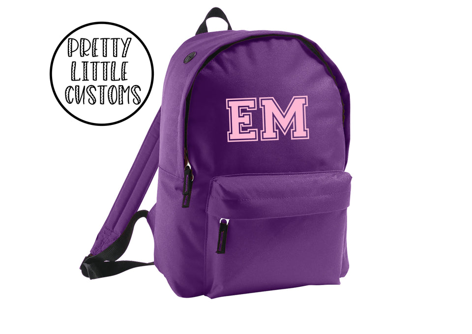 Personalised kids initials rucksack/backpack/school bag - purple