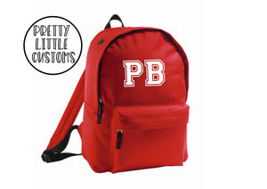 Personalised kids initials rucksack/backpack/school bag - red