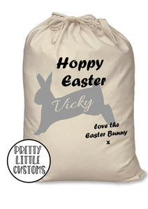 Personalised kids name Hoppy Easter bunny rabbit egg treats sack bag - black