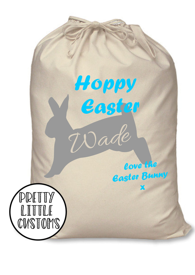 Personalised kids name Hoppy Easter bunny rabbit egg treats sack bag - blue