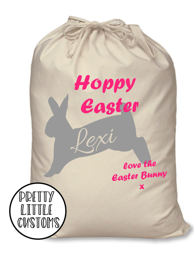 Personalised kids name Hoppy Easter bunny rabbit egg treats sack bag - pink