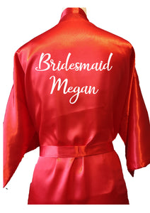 Personalised your text / name bridal party / wedding dressing gown / robe - red