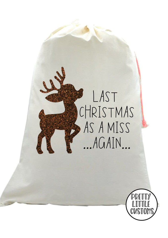 Last Christmas as a Miss AGAIN glitter reindeer print christmas sweater - red