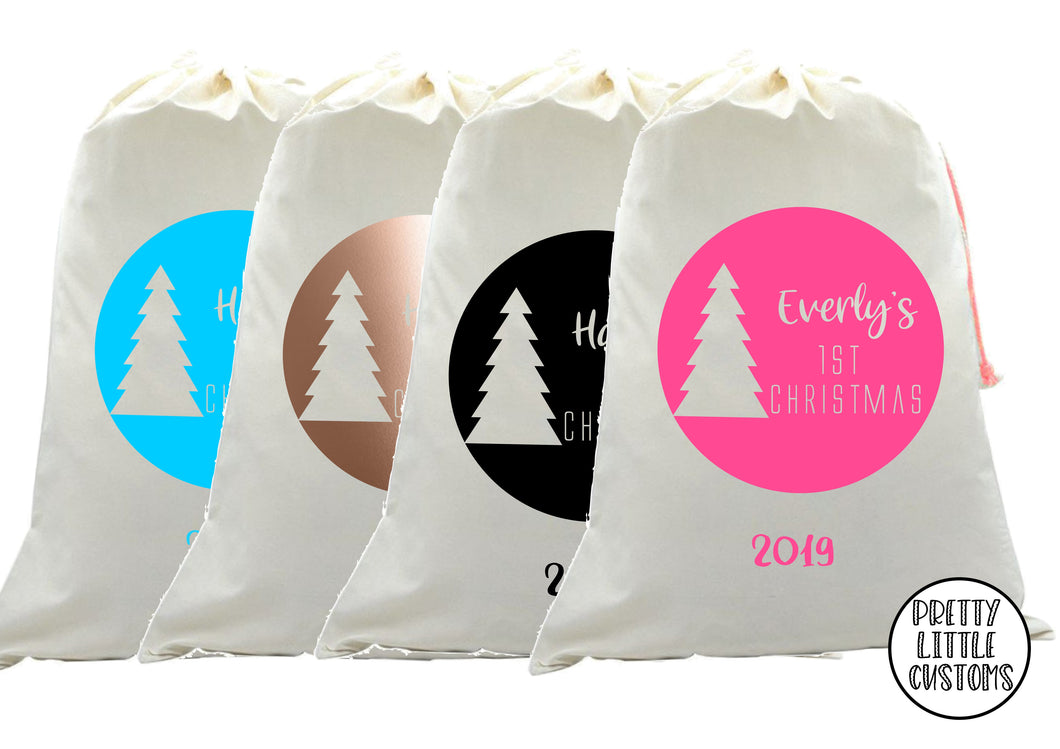 Personalised Christmas Santa Sack -  (your name)'s -First Christmas, year - circle, tree print