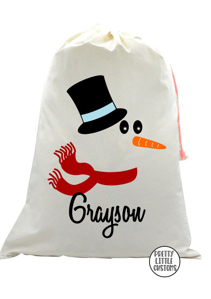 Personalised Christmas Santa Sack -  (your name) - Snowman