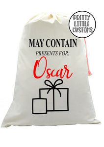 Personalised Christmas Santa Sack - may contain presents for (your name)