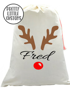 Personalised Christmas Santa Sack -  (your name) -Glitter Reindeer