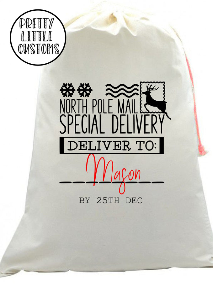 Personalised Christmas Santa Sack - Special delivery  for (your name) - reindeer