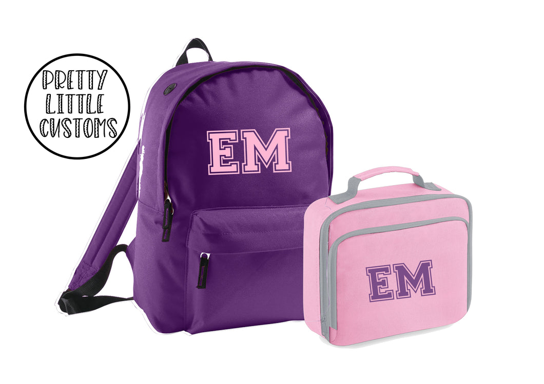Personalised kids initials lunch bag & rucksack school set- pink/purple
