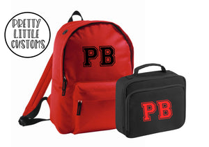 Personalised kids initials lunch bag & rucksack school set- red/black