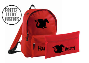 Personalised kids name, dragon print pencil case & rucksack school set- red