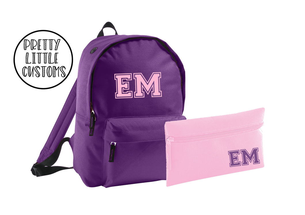 Personalised kids initials pencil case & rucksack school set- purple/pink