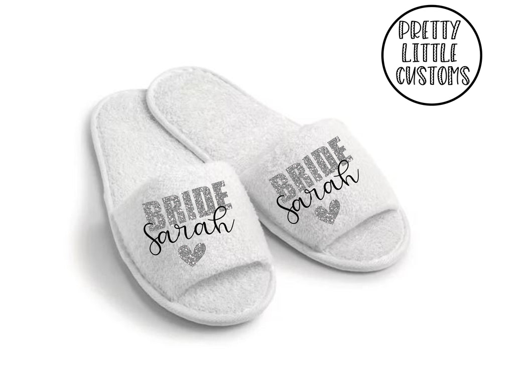 Personalised bridal party glitter print slippers - Bride - style 2