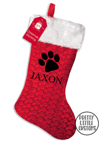 Personalised Pet Christmas Stocking - paw print design
