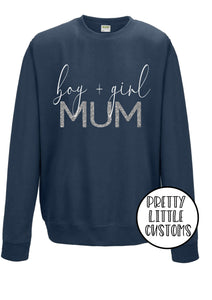 Boy + Girl Mum glitter print airforce blue sweater