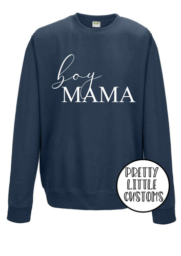 Boy Mama print airforce blue sweater