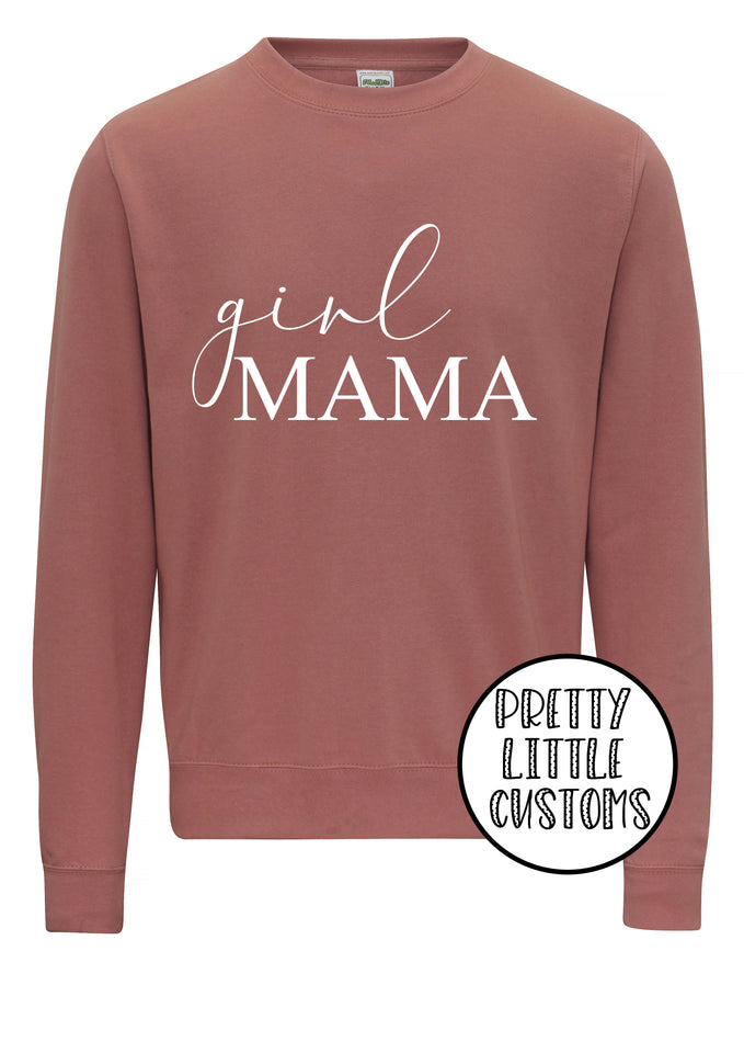 Girl Mama print dusty pink sweater