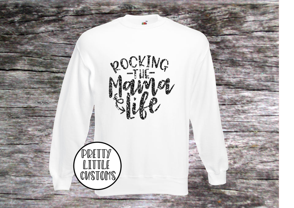 GLITTER Rocking the Mama life print sweater