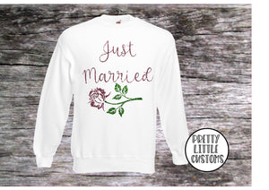 Just Married glitter rose print sweater