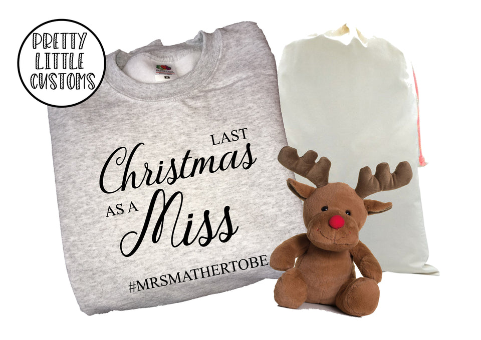 Personalised Last Christmas as a Miss print christmas sweater - your surname