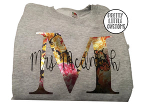 Personalised Mrs - your name & initial - metallic floral rose print sweater